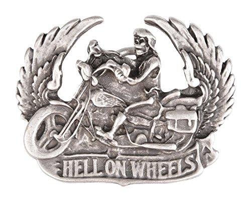 Preisvergleich Produktbild Biker Gürtel-Schnalle Hell on wheels Gürtelschließe Wechsel-Schliesse Geburtstag-Geschenk Accessoire 7, 7 x 6, 2 cm 40 mm
