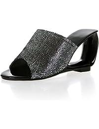 Raccord de Poisson Chaussures pour Femmes en Cuir de Mouton Exposés Élégant, High-Heeled Chaussons Sandales Code Grande