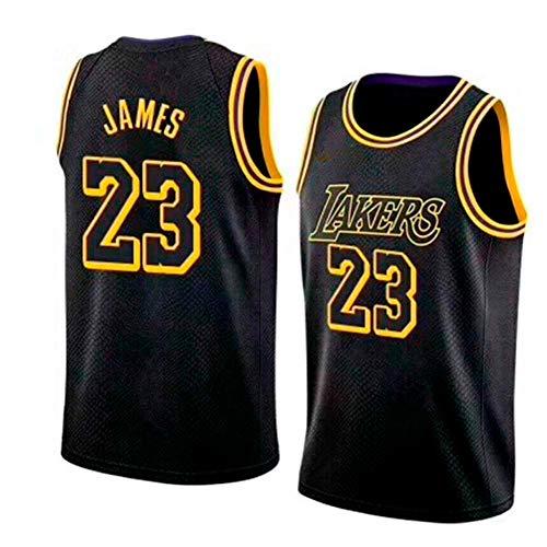 runvian NBA Lebron James Basketball-Anzug Nr. 23 Lakers Jersey Basketballtrikot Sport Swingman Jerseys Basketball Uniform für Herren Männer Fans (Schwarz, M) - Lebron James Nba