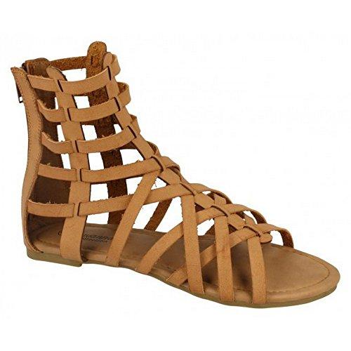 savannah-womens-ladies-aztec-sandali-intrecciati-tacco-basso-donna-38-eu-marrone-chiaro