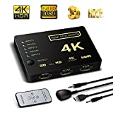HDMI Switch Support HDCP 1080p Mini 5 in 1 out Intelligent 5 Port 4K HDMI Auto Switcher Box Audio/video Switcher Adapter Compatible with 4K Ultra HD Resolution for Mac PCs XBOX TVs