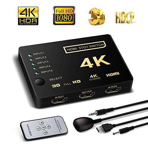 Optic Hdmi Extender (HDMI Switch unterstützt HDCP 1080p Mini 3 in 1 Out Intelligente 4 Port 4 K HDMI Audio Switcher Selector Splitter Verstärker Adapter mit IR-Fernbedienung Kompatibel mit 4 K Ultra HD Auflösung für Mac PCs Xbox TVS schwarz 5 in 1 HDMI switch with a IR remote)