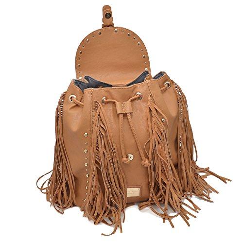 LYDC LONDON Damen Rucksack Handtasche mit Fransen Magnet- und Schnürverschluss Braun
