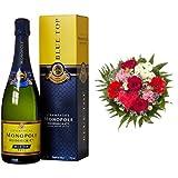 Monopole Heidsieck Blue Top Brut Champagner + Blumenstrauß Alles Liebe