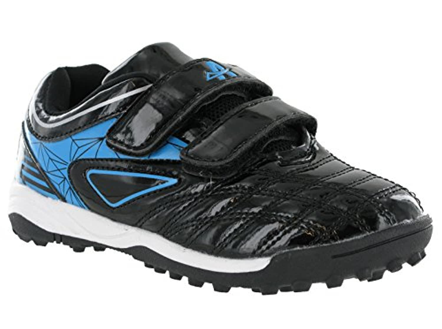 Boys Kids Football Astro Velcro Strap Indoor Outdoor Sports Unisex Shoes Trainers (UK 2, Black / Blue)