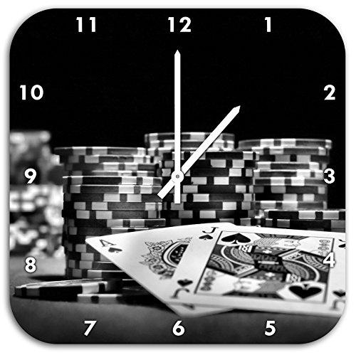 Monocrome, tavolo da poker con le carte in Las Vegas, a parete diametro 48 centimetri orologio con bianco ha le mani e il viso, oggetti di decorazione, Designuhr, composito di alluminio molto bello per il soggiorno, studio
