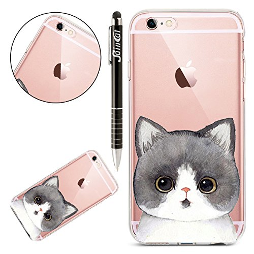 Custodia iPhone 6 Plus, iPhone 6S Plus Cover Silicone Trasparente, SainCat Cover per iPhone 6/6S Plus Custodia Silicone Morbido, Shock-Absorption Custodia Ultra Slim Transparent Silicone Case Ultra So Gattino #6