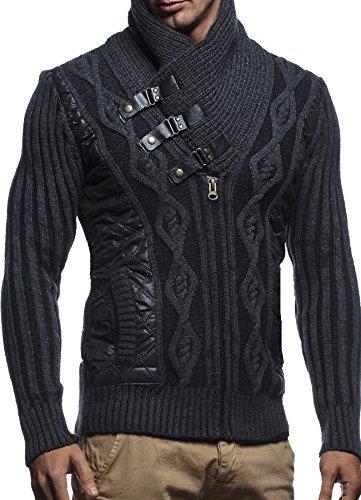 LEIF NELSON Herren Jacke Pullover Strickjacke Hoodie Sweatjacke Freizeitjacke Winterjacke Zipper Sweatshirt LN5305; Größe S, Anthrazit-Schwarz | 04250863692553