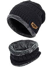 Handcuffs 2-Pieces Winter Beanie Hat Scarf Set Warm Knit Hat Thick Fleece Lined Winter Hat & Scarf for Men Women