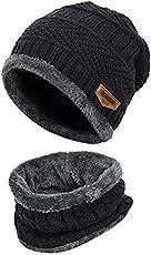 Handcuffs Pure Woolen Skull Cap with Muffler/Beanie - Black - Unisex - Winter Cap