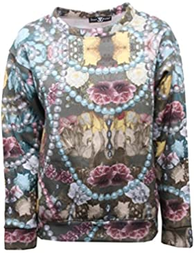 B5572 felpa donna SWEET MATILDA multicolor sweatshirt woman