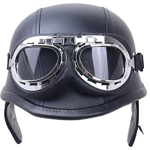 YAJAN-helmet Halber Motorradhelm DOT/ECE-Zulassung Vintage Harley Helme mit Brille geeignet für Männer und Frauen Harley Motorradhelm Bike Cruiser Scooter
