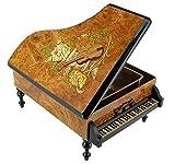 Boîte à bijoux musicale en bois en forme de piano avec véritable marqueterie (fleurs et instrument de musique) - Tristesse (Frédéric Chopin)