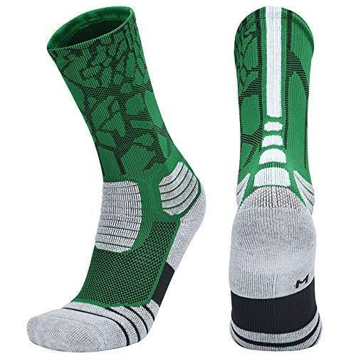 WADUANRUN Calze Lunghe da Basket per Adulti Calze da Boxe per Skateboard di Grandi Dimensioni Verde Bianco [Celtic] M [35-38 Yards]