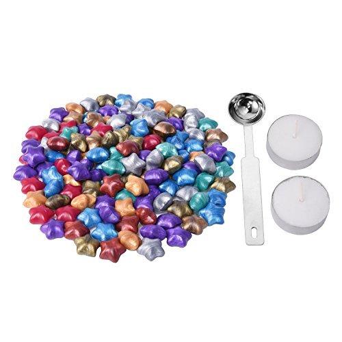 Lvcky 140Stück Star Form Siegelwachs Perlen mit 1Stück Wachs Schmelzlöffel und 2Stück Kerzen, 9Farben