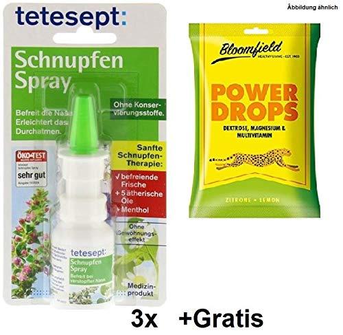 3x Tetesept Schnupfen Spray +Gratis Power Drops. Befreit die Nase & erleichtert das Durchatmen. Mit 5 ätherischen Ölen und ohne Konservierungstoffe und ohne Gewöhnungseffekt.