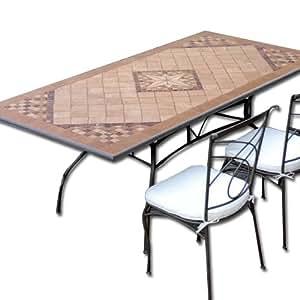 Tavolo in ferro battuto da giardino mosaico in pietra 160 for Tavolo da giardino usato