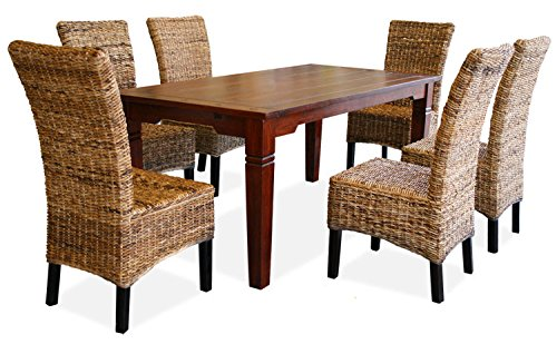 KMH®, Esszimmer Sitzgruppe/Tischgruppe *Toskana/Banana* (6 Rattanstühle aus dickem Bananengeflecht und 1 massiver Esszimmertisch) (#201726)