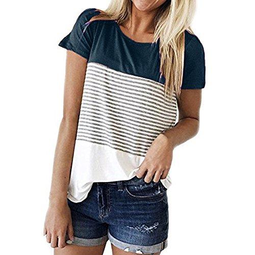 CAOQAO Damen Casual Patchwork Farbblock Kurzarm Triple Color Block Streifen T-Shirt LäSsige Bluse Atmungsaktives Laufshirt(L,Marine)