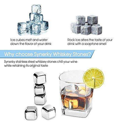 Refrigeración de Acero Inoxidable Reutilizables de Cubitos de Hielo  Aprobado por la FDA para la whisky  vodka  cerveza  vino blanco y mas (set de 8 cubos Incluye pinzas de silicona)