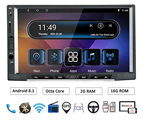 LEXXSON 2Din Autoradio mit Bluetooth GPS-Navigation WIFI USB/SD/AUX-IN/CAM-in/MirrorLink/RDS Radio Fernbedienung | Octa Core Android 8.1 7 Zoll IPS-Touchscreen Autostereo Headunit (Doppel-din Touch Screen Car Stereo)