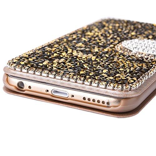 Cassa per Apple iPhone 6/6s 4.7, CLTPY Puro Vintage Belle Luccichio il Rhinestone Serie Portatile Back Cover, Completa Semplice Kickstand Resistenza Disegno Protettivo Case per iPhone 6,iPhone 6s + 1 Oro