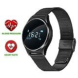 TKSTAR Sport Smartwatch Wasserdicht mit Herzfrequenz Monitor, Blutdruck, Schrittzähler Uhren für Männer Frauen Stahl, Fitness GPS Tracker Watch, Schwarz