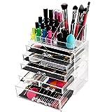 HBF Organizador Maquillaje Acrilico Cajones( 6 cajones+16 compartimientos) Organizador Cosmeticos Grande Para Organizar Pinceles Lápiz Labial Esmalte De Uñas Joyería Peines Pendientes Rizador De Pestañas
