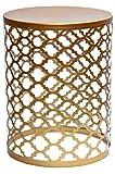 MAADES Design Marokkanische Hocker Beistelltische Sitzhocker Metall Rund - Hoka (Mittel, Gold)