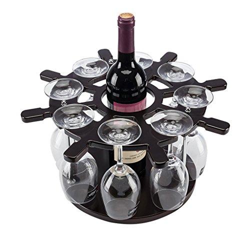 MinMin Weinregal - Weinregal Helm aus Holz Weinregal Weinregal kreative Bar hochwertigen Glasrahmen Dekoration (38cmX38cmX20cm) Weinlagerung
