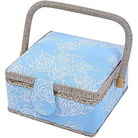 Motivo floreale, tessuto Classico cestino per il cucito, con vassoio, 129 pezzi, Kit accessori cucito progetti, 19,30 (7,6 cm x cm x 19,30 (7,6 11,43 (4,5 cm blu