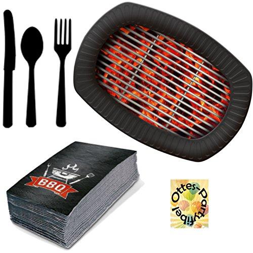 HHO BBQ Grill-Party Holzkohle Partyset 76tlg. für 12 Gäste Servietten Teller Besteck