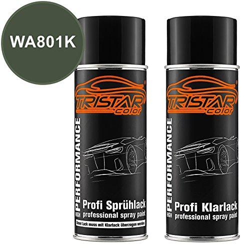 Preisvergleich Produktbild TRISTARcolor Autolack Spraydosen Set für Buick / Cadillac / Chevrolet / Corvette WA801K Vermeer Green Perl Metallic Basislack Klarlack Sprühdose 400ml