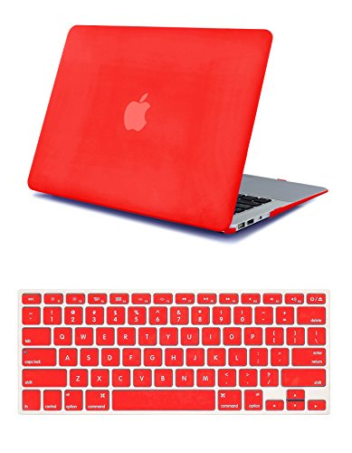 Robustrion Rubberized Matte Hard Case Shell Cover for MacBook Pro 13 inch A1278 (CD-ROM Model) (Not for New 2016-2017 MacBook Pro 13 inch with/Without Touch Bar) with Keyboard Protector Cover - Red