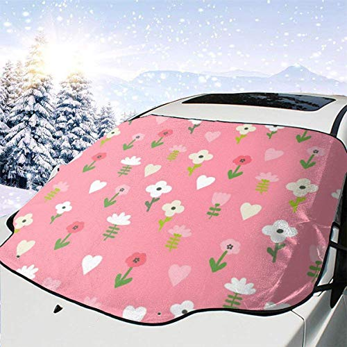 N/A Chicken Floral 6 Cute Farm Florals Wildflowers Car Front Windshield Cover Foldable Sunshade Fits Most Cars, Trucks, SUV's -
