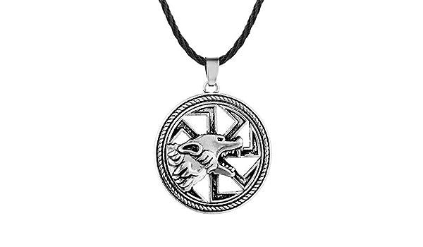 VAWAA Slawische Amulett Wolf Halsketten Kolovrat Charm