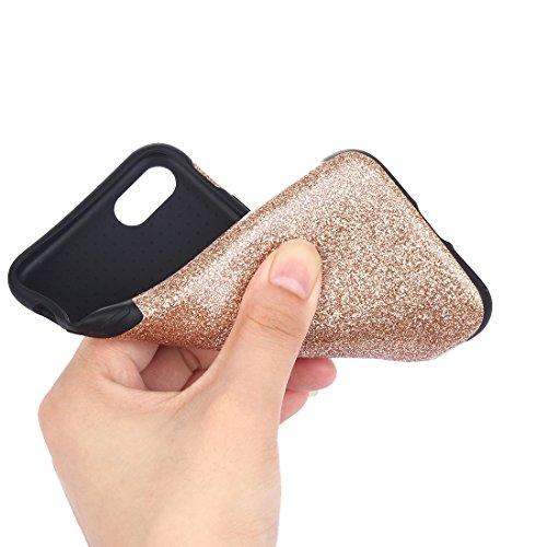 BING Für iPhone 7 Plus Soft TPU Schutzmaßnahmen Glitzer Puder PU Paste Haut Fall BING ( Color : Black ) Gold