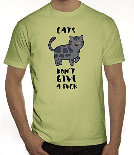 Tier Katzen Herren T-Shirt mit Cats Don't Give A Fuck Motiv von ShirtStreet Limone