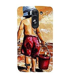 young boy foing to beach canvas painting 3D Hard Polycarbonate Designer Back Case Cover for LG G3 Beat :: LG G3 Vigor :: LG G3s :: LG g3s Dual