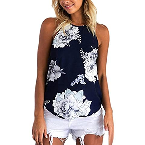 Damen Bluse,Honestyi 2017 Frauen Sommer Print Sleeveless Shirt Bluse Casual Tank Tops t-shirt (Large, Dunkelblau)