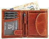 Pierrini Herren Echtleder Geldbörse Cognac Braun im hochformat Portemonnaie Geldbeutel