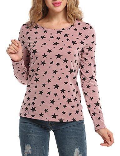 ZEARO Damen T-Shirt Langarm Rundhals Hüftlang Lockere Stern-Druck Modern Shirt Tops Pink