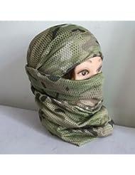 HuntGold Filet de pêche de camouflage tactique, sniper couvrir la tête voile visage. maillage. foulard écharpe(Ramdon Camo)