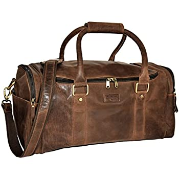 SID & VAIN® grand sac de voyage BRISTOL - grand fourre-tout besace week-end - sac sport bagages cabine à main homme femme XXL-châtain clair cuir Ye5FY