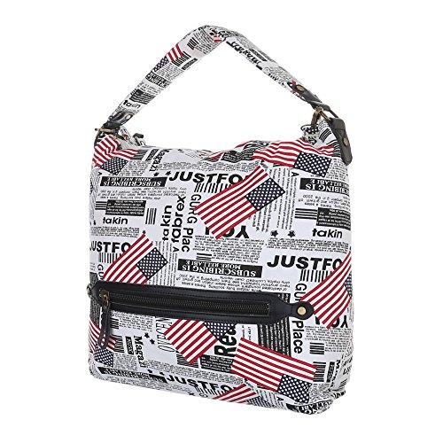 Damen Tasche, Große Print Shopper, Textil, Weiß Schwarz, TA-18220 -