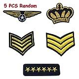 5pcs parches bordados Militar Rango Emblema Parches Ejército Insignia de tela pegatinas prendas aplique decorativo