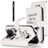 Slynmax Leder Tasche Schutzhülle für Kompatibel mit Samsung Galaxy S6 Hülle Flip Wallet Case Etui Hund PU Leather Brieftasche Lederhülle im Bookstyle Ledertasche Handyhülle Ständer,better day