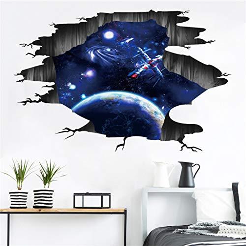 hene Wand Sternenwand Aufkleber mit Planeten Sternen Himmel Entfernbare Wandbild weiß Schmetterlinge tropisch Strand 70er pirateninsel über liebesnest puuh Rakete ()