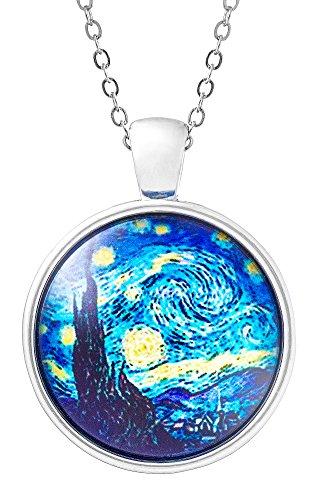 Klimisy - Sternennacht nach Vincent Van Gogh Kette mit Anhänger aus Glas - Buy one & Plant one Tree - Hochwertige Halskette mit elegantem Medaillon - Eco & Fair -