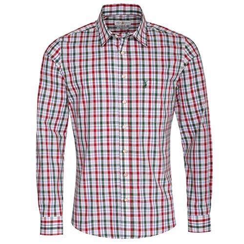 Almsach Herren Trachtenhemd Slim-Fit Slim-Line Trachten-Mode traditionell-kariert s-XXL viele Farben, Größe:XL, Farbe-Zweifarbig:Rot/Tanne